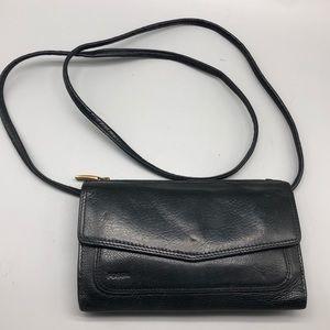 Fossil black genuine leather crossbody wallet